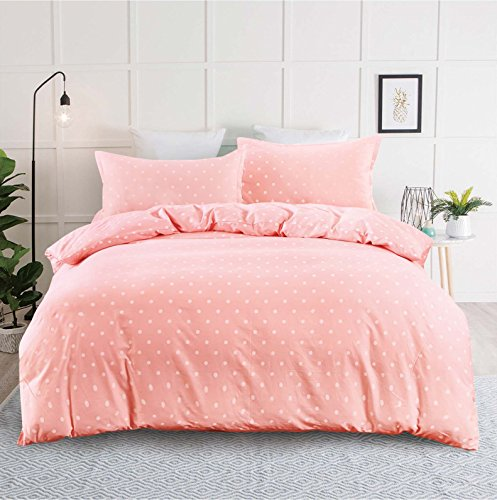 Pink Duvet Cover Set, 100% Soft Cotton Bedding, White Polka Dot Simple Modern Pattern Printed, with Zipper Closure (3pcs, Queen Size) (Pink Comforter Toile)