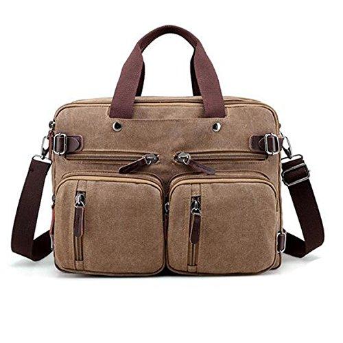 Computer Messenger Vintage Shoulder Briefcase Boy Men Crossbody Zipped Canvas Backpack Laptop Satchel For Casual Travel Brown Bag PPnOq1x