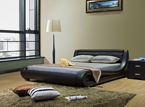 Greatime Eastern King Size Contemporary, Black Leatherette Bed with Headboard Lights