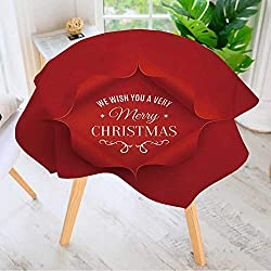 """Leighhome Spillproof Polyester Fabric Round Tablecloth- Merry Christmas Greeting Card Template Vector Elegant Printed Table Cloth 50"""" Round"""