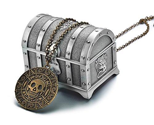 (REINDEAR Pirates Of The Caribbean Movie Cursed Aztec Cortez Coin Pendant Necklace w/Treasure Box (Vintage))