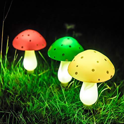SUNGATH Solar Mushroom Lights Outdoor, Solar Powered Lights for Garden, Patio, Backyard, A Set of 3 (Lights Garden Decorative)