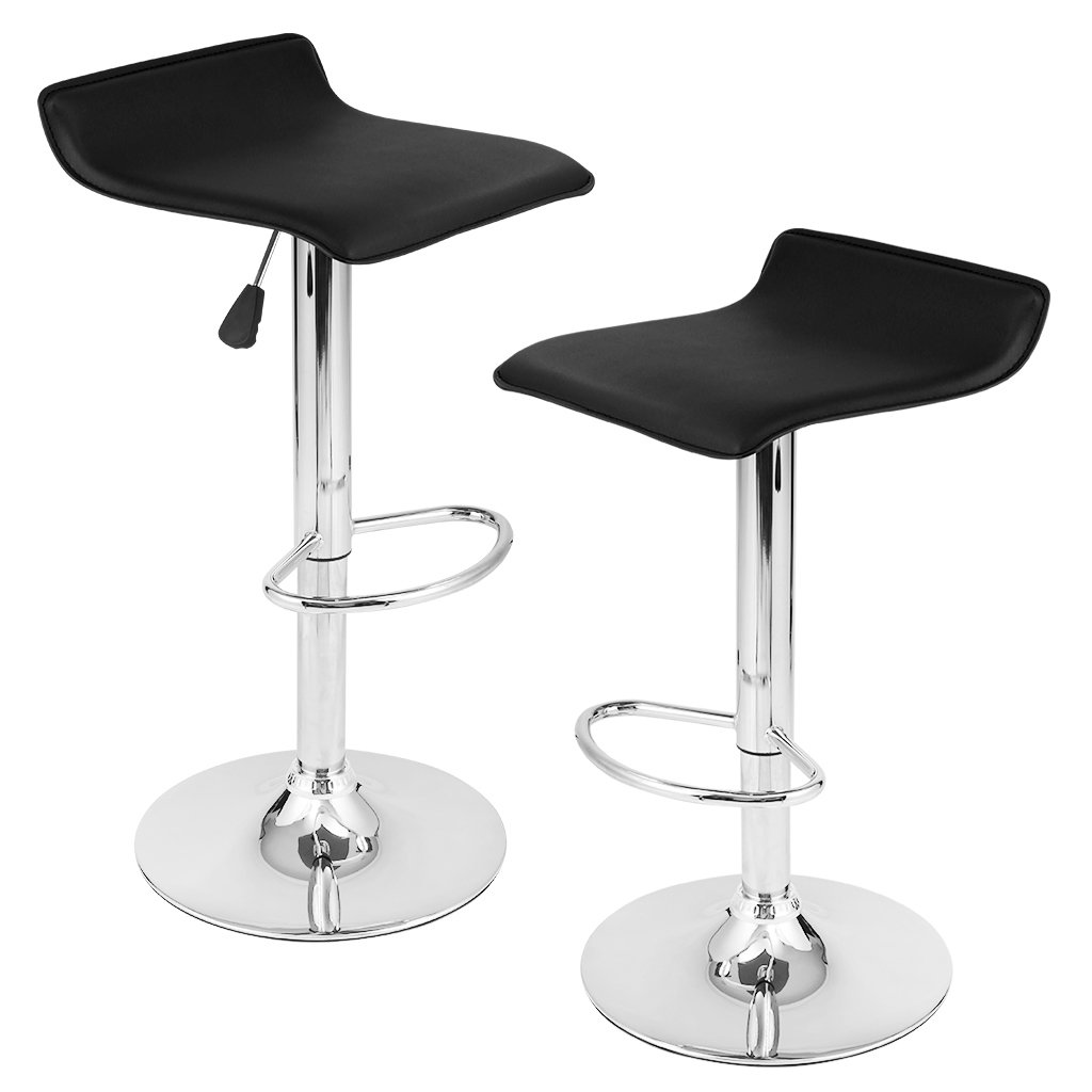 LANGRIA Manhattan Bar Sgabelli Set con Esterno in Vetroresina Streamlined, Lift Gas regolabile, Supporto Poggiapiedi in Cristallo e Base per Bar, Contatore o Casa (2 PCS,Nero)
