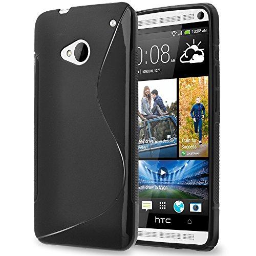 HTC ONE M7 Case, TownShop® Black Soft TPU - Htc One M7 Phone Case