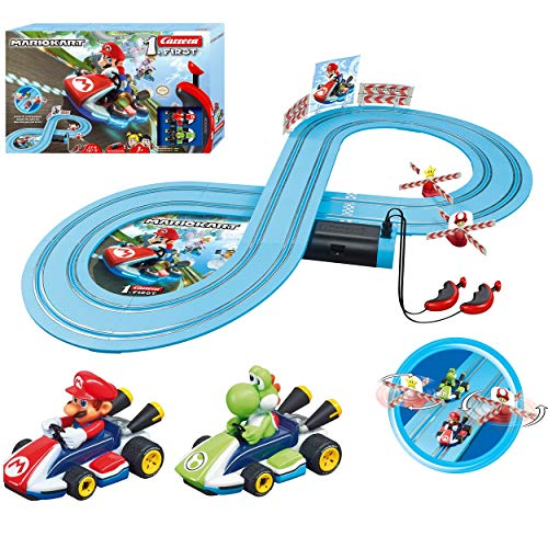 Carrera First Mario Kart - Slot Car Race Track With Spinners - Includes 2 Cars: Mario and Yoshi - Battery-Powered Beginner Racing Set for Kids Ages 3 Years and Up from Carrera