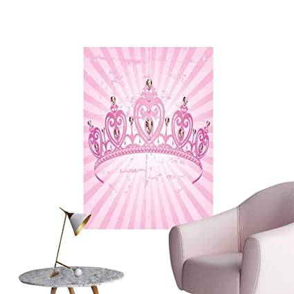 Queen Art Decor 3D Wall Mural Wallpaper Stickers Childhood Theme Pink Heart Shaped Princess Crown on
