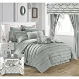 King Size Comforter Sets with Matching Curtains Chic Home Hailee 24 Piece Comforter Set Complete Bed in a Bag Pleated Ruffles and Reversible Print with Sheet Set & Window Treatment, King, Silver