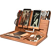 Wood 2 Cell Phone Stand Smartwatch Wallet Holder. Man Cave Multiple Gadget Dock Mobile Accessory Organizer. Nightstand Tablet Charging Docking Station. Wooden Desk Storage. Bed Side Dresser Valet Tray
