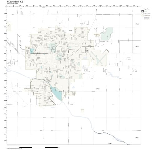 Hutchinson Ks Zip Code Map.Amazon Com Zip Code Wall Map Of Hutchinson Ks Zip Code Map