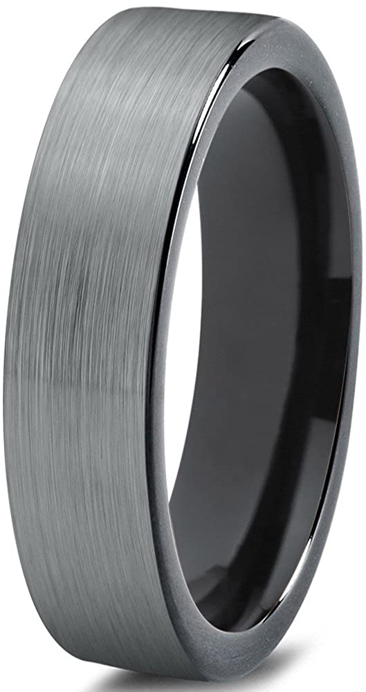 Tungsten Wedding Band Ring 4mm for Men Women Comfort Fit Black Enamel Pipe Cut Brushed Charming Jewelers CJCDN-1777-B