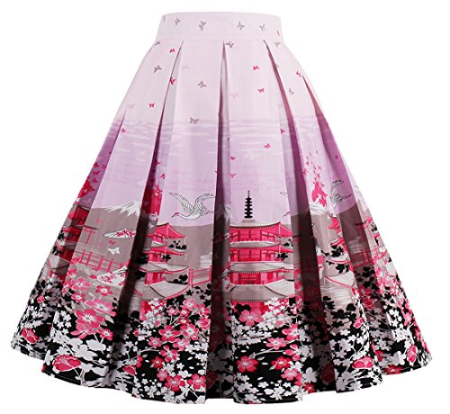 Cleaivy Womens Midi Pleated A Line Floral Printed Vintage Skirts