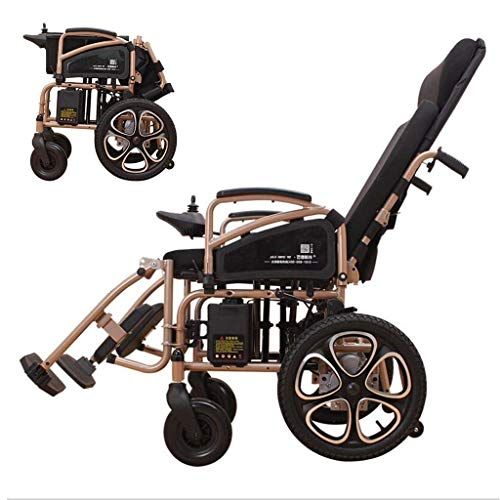 DONGBALA Folding Electric Wheelchair, Fully Lying Elderly Automatic Wheelchair Aluminum Alloy Four-Wheeled Scooter 250W2 Dual Motor Large Capacity Lithium Battery Gold (12A)