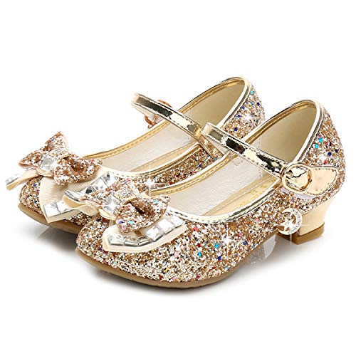 Waloka Gold Mary Jane Glitter Shoes for Girls Size 13 Wedding Party Wear High Heels Shoes for Girls Wedding 8 Yr Cosplay Low Heeled Princess Little Kid Sequin Bridesmaid 13 -
