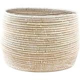 Woven African Knitting Basket - White - Fair Trade