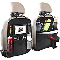 Car Back Seat Organizer, 2 Pack of Oxford Waterproof Car Seat Protector with Touch Screen Tablet Holder, Multi-Pocket…