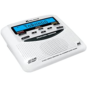 Midland WR120/WR120EZ NOAA Weather Alert All Hazard Public Alert Certified Radio with SAME, Trilingual Display and Alarm Clock - Box Packaging