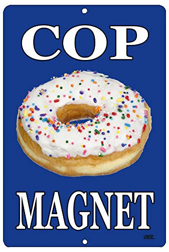 Rogue River Tactical Funny Cop Magnet Donut Metal Tin Sign Wall Decor Man Cave Bar Police Officer Department Gag Gift
