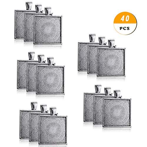 40pcs Antic Silver Color Square Pendant Tray Square Pendant Blanks Cameo Bezel Cabochon Settings - 1
