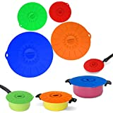 InfiDeals Suction Lid Food Cover Combo, Red/Green/Orange/Blue, Set of 4