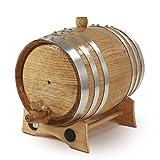 1 Liter Whiskey Oak Barrel for Aging – Golden Oak Barrel with Polished Steel Hoops – Aging and Recipes Digital Guide included