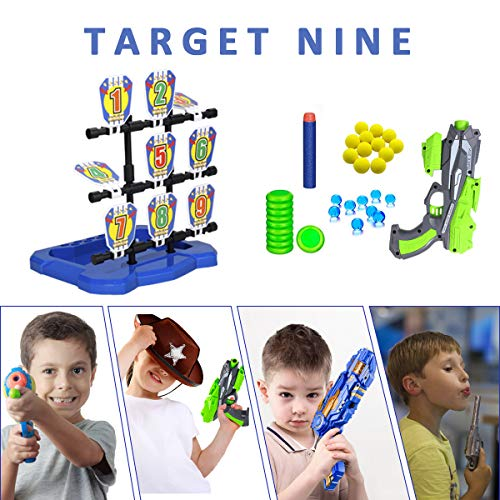 Shooting Targets for Nerf Guns, 9 Targets Shooting Toys with Foam Dart Gun for Age of 5,6,7,8,9,10+ Years Old Kids…