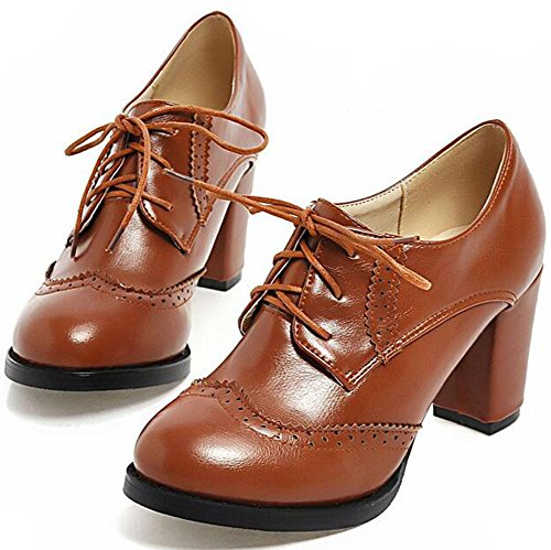 Brown Lace Ankle Oxfords Brogue Round Heel Trendy Shoes Women's Boots Summerwhisper Block Toe High up CwqBZA6