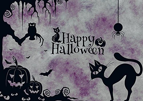 Wall Art Impressions Quality Prints - Laminated 33x24 Vibrant Durable Photo Poster - Halloween Cat Weird Surreal Atmosphere Creepy Pumpkin Spider Owl Silhouette Happy Halloween