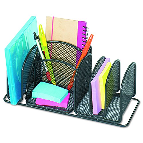 Safco Steel Desktop Organizer - Safco Products 3251BL Onyx Mesh Deluxe Desktop Organizer, Black