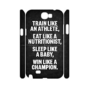 3D Samsung Galaxy Note 2 Case Train Like an Athlete, Typography Dustin, {White}