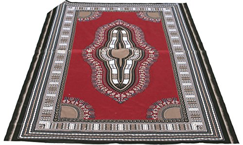 RaanPahMuang African Dashiki Colour Cotton Fabric Suitable for 1 Shirt Design, Dark Red Brown