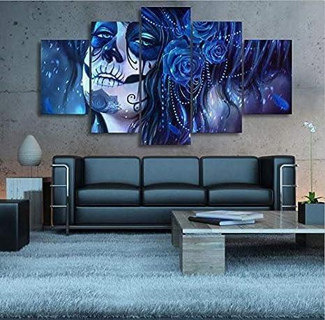 WMWSH Moderno Mpresión Lienzo Pintura 200x100CM 5 Piezas Cara del Hombre Muerto HD Cuadros En Lienzo Pinturas De Cuadros Mural para La Decoración del Dormitorio De La Sala De Estar Poster Wall Art