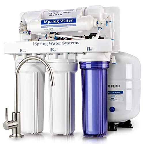 iSpring RCC7P Performance-boosted Under Sink 5-Stage Reverse Osmosis Drinking Water Filtration System with Pump and Ultimate Water Softener (Permeate Ro Pump)