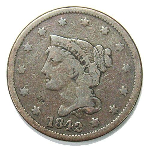 1842 Braided Hair Large Cent 1¢ VG
