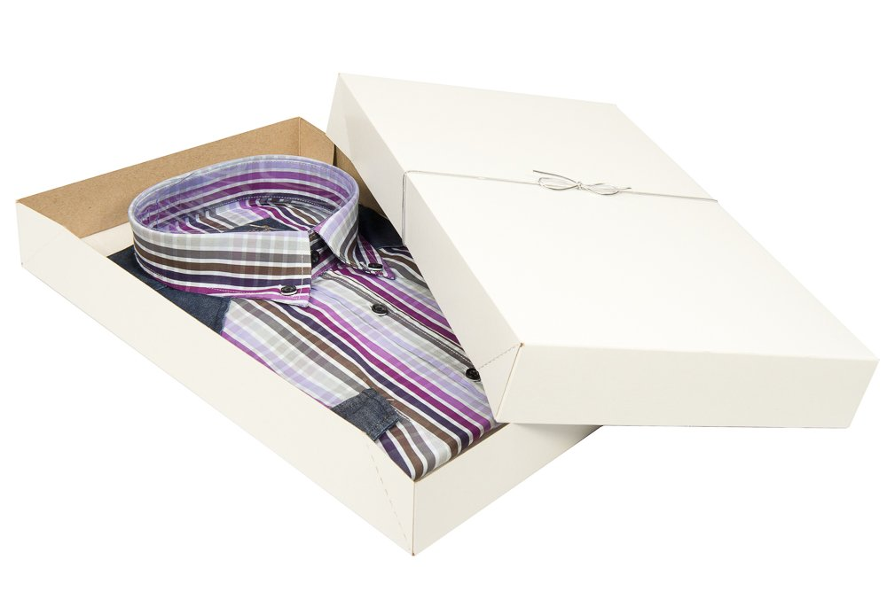10-pack Shirt Boxes for Apparel and Gifts. This Complete Set includes Tissue Paper and Silver Stretch Loops to Perfectly Wrap Your Gifts in Style.