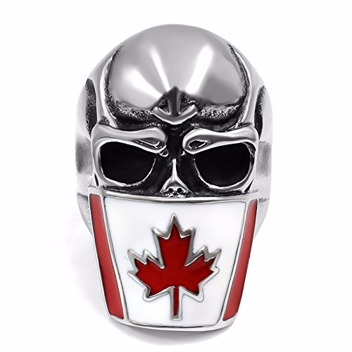 Elfasio Mens Stainless Steel Ring Band Canada Flag Mask Skull Fashion Jewelry size 11