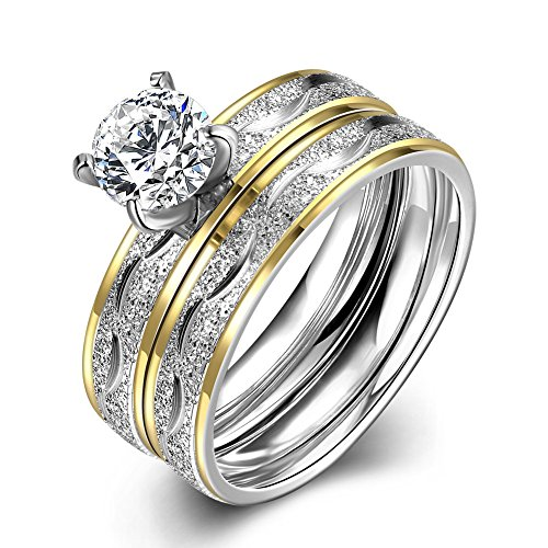 Women Engagement Rings Set, Stainless Steel Gold Plated Cubic Zirconia Promise Wedding Rings Size 8 Herinos