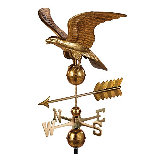 - Good Directions Smithsonian Eagle Weathervane - Pure Copper with Golden Leaf Finish (23 inch), Rooftop Ornament, Wind Vane, Roof Décor