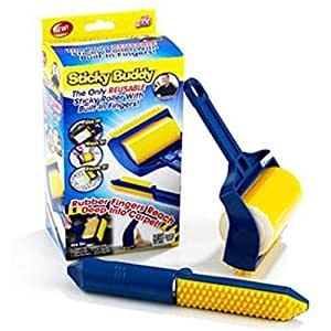 Sticky Buddy Reusable Sticky Picker Upper Roller With Built-in Fingers