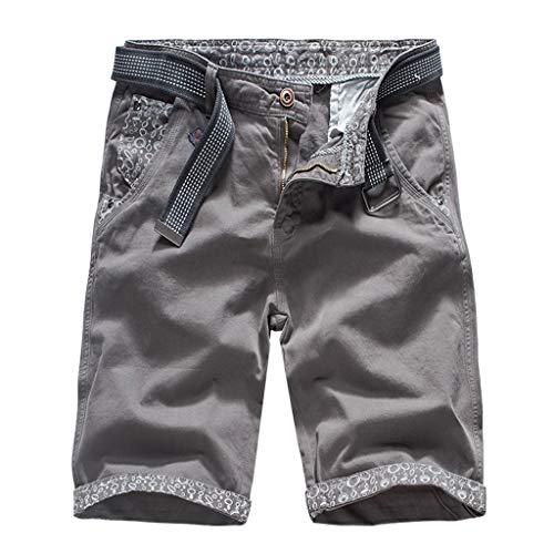(Ninasill Hot!Men's Printing Splicing Straight Tooling Shorts Multi-Pocket Buttoned Large Size Home Shorts Casual Pants Gray)