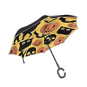 jstel doble capa puede calabazas de Halloween gatos Bates calaveras paraguas coches Reverse resistente al viento