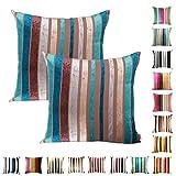 Queenie - 2 Pcs Chenille Stripe Decorative Pillowcase Cushion...