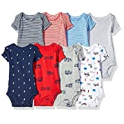 Carter's Baby Boys' 8 Pack Short-Sleeve Bodysuits, Transportation/Dog, 9 Months