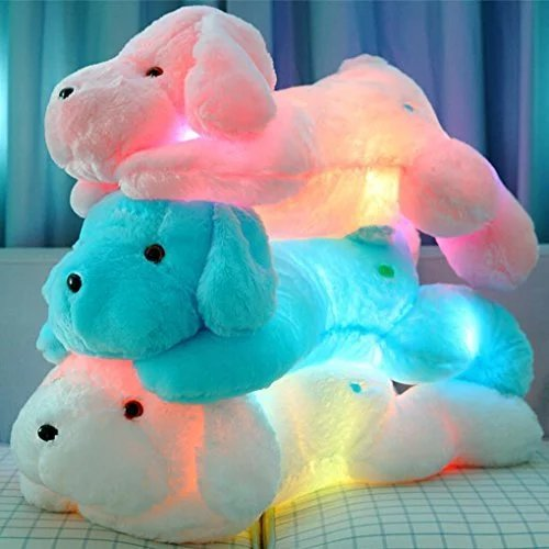 Primey Baby Size LED Sparkling Teddy Dog Pillow,Home Decor For Toddlers Kids,20 Inches(Blue)