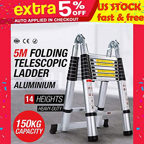 Telescopic Ladder 16.5Ft 5M Multi-Purpose A-Type Aluminium Telescoping Ladder Extension Folding Heavy Duty Extend Portable Ladder Foldable Ladder EN131 Standards for Home,Outdoor and Business etc.