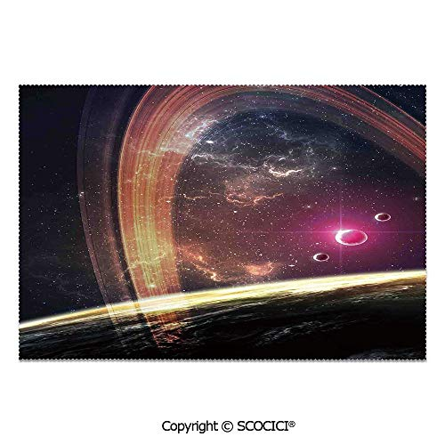 SCOCICI Set of 6 Durable Polyester Place Mats Heat Resistant Table Mats Deep Space Planets Over Nebula Dust Stars and Halo Ring Science Fiction Art for Party Kitchen Dining ()