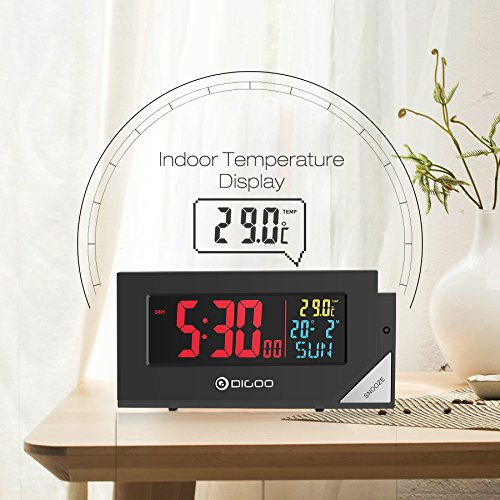 Digoo DG-C8 New Wireless Full Color Digital Clear Backlight Electronical Desk Bedroom Alarm Clock with Light Sensor by scoutBAR