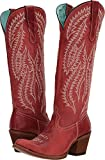 CORRAL Women's Embroidery Tall Top Western Boot Round Toe Red 8.5 M