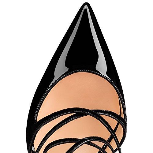 Bout Sangles Élastique KJJDE Croisées Taille De Pointu Femme Grande Plateforme Mariage Talon Transgenre TLJ Club 55 Haut Sexy 37 Black Soirée Fête PzqP0w