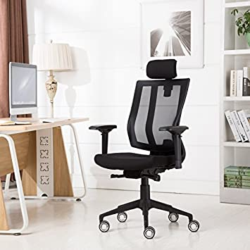GreenForest Mesh Office Chair with Adjustable Slider Seat Recline Locking Mechanism Big and Tall Backrest 360 Degree Swivel Executive Computer Task Chair with Headrest and 4D Armrest,Black