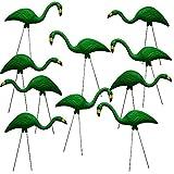 26″ Green Flamingo Resin Garden Statues Lawn Ornament Retro Decor (10-Pack) For Sale